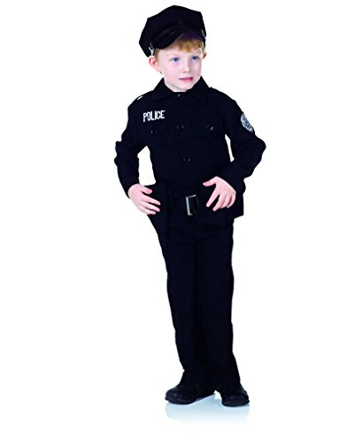 Policeman Costumes Child (Underwraps Big Boy's Boy's Policeman Costume Set, Medium Childrens Costume, Black, Medium)