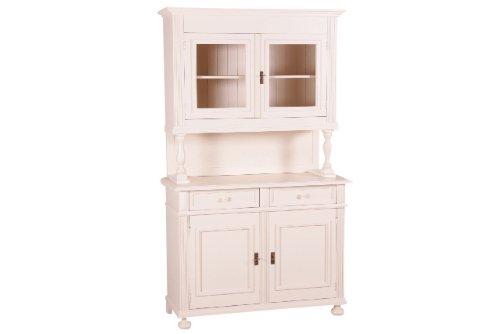 Jungbrunnen, Vitrinenschrank Romantica, massiv Fichte-Tanne, Küchenschrank, creme weiß lackiert