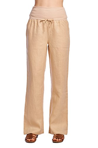 (Mariyaab Women's Wide Leg Fold Over 100% Linen Pants with Drawstring tie (003A, Cream, 12))