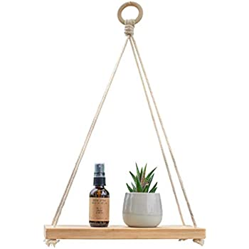 Kuratere Bamboo Hanging Wall Shelf - Indoor BoHo Plant Shelf - Macrame Rope 12 Inch Eco Friendly Wooden Floating Shelves for Organized Bedrooms, Living Rooms, Closets or Bathrooms