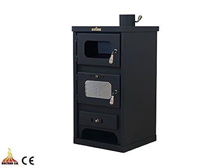 Estufa de leña con horno de combustible sólido Log quemador cocina 7 kW madera carbón