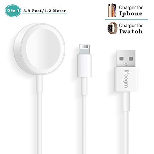 Compatible with Apple Watch iWatch Charger, 2 in 1 Phone Charger 3.9ft Cable Compatible with Apple Watch Series 4/3/2/1 and iPhone XR/XS/XS Max/X/8/8Plus/7/7Plus/6/6Plus/iPad4/iPad Air/Mini/Airpods