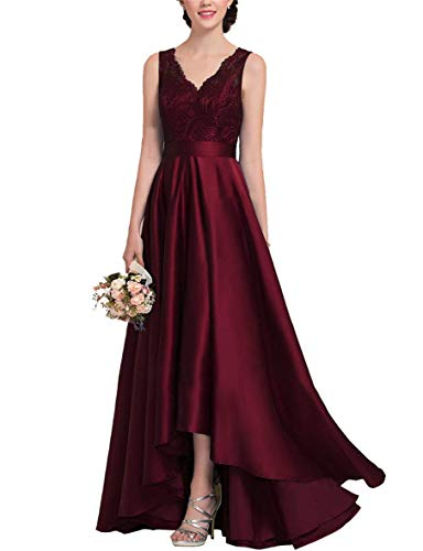 Pinkhq Women S V Neck Hi Lo Lace Satin Wedding Guest Dress Formal Evening Prom Grown