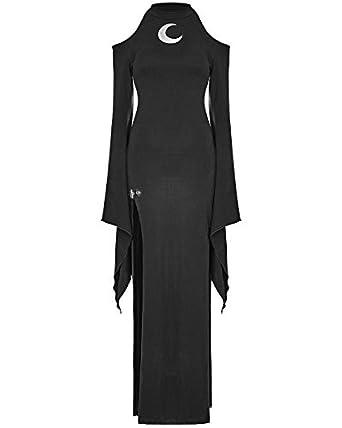 262d9fb234d2 Punk Rave Gothique Robe Maxi Noir pour Femmes Dos séparé Manches Longues sorcière  Occulte Moon -