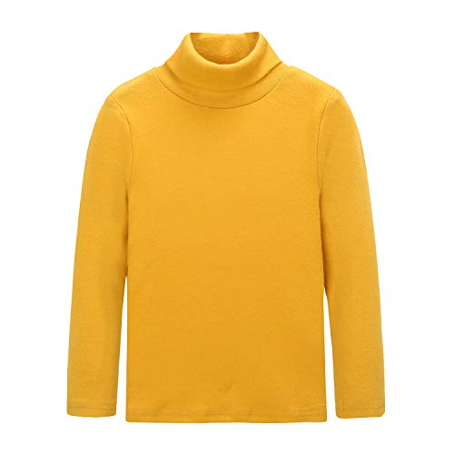 CUNYI Little Boys Girls Turtleneck Long Sleeve Cotton T-Shirts Solid Color Tops, Yellow, 6-7 Years ()