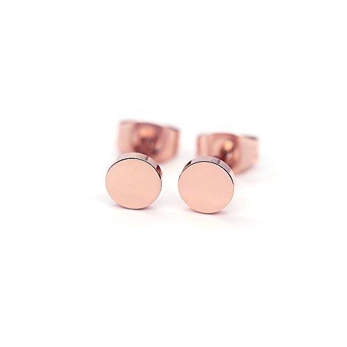 HANFLY 18k Rose Gold Plated dot earrings Tiny dot stud Earrings