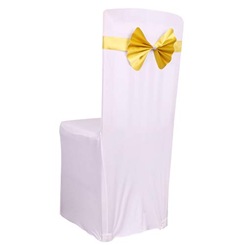 Fvstar 10 Pack Gold Wedding Chair Sashes Bows Elastic Chair Ribbon Party Chairs Back Tie Bands for Bridal and Events Supplies Baby Shower Party Banquet Without White Covers - Very Time Saving ()