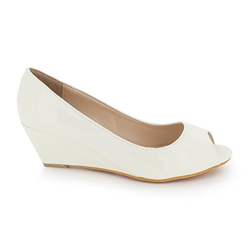 AARZ LONDON Women Ladies Peeptoe Shiny Evening Party Casual Comfort Wedge Heel Slip On Sandals Shoes Size White cWk3QefCL