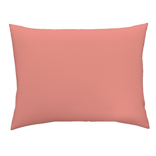 Roostery Coral Peach Dark Coral Terra Cotta Tomato Soup Solid Coral Pink Euro Knife Edge Pillow Sham Lady Hamilton ~ Coral Pink ~ by Peacoquettedesigns 100% Cotton Sateen