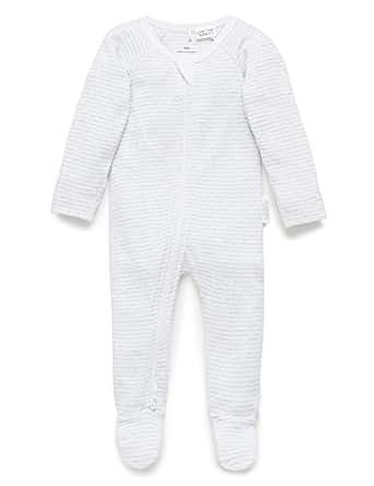 Purebaby Zip Growsuit, Pale Grey Melange Stripe, 3-6 M