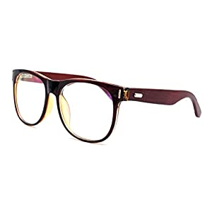 Amillet Men's Wooden Vintage Oversized Glasses Frame Clear Lens Eyeglasses 55-19-140 Brown