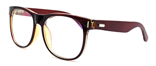 Amillet Men's Wooden Vintage Oversized Glasses Frame Clear Lens Eyeglasses 55-19-140 Brown