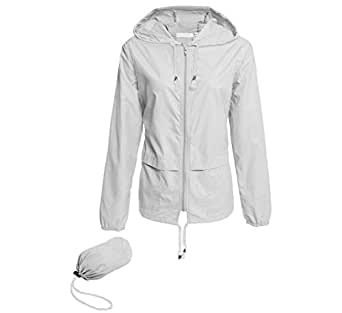 Hount Women's Lightweight Hooded Raincoat Waterproof Packable Active Outdoor Rain Jacket (White, S)