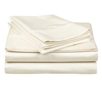 Sheet Set-Super Single Size Attached Waterbed Sheet Set Ivory Solid up to 15 inch Drop 400 Thread Count Cotton Super Single Sheet Sets.
