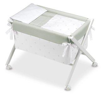 Bimbi Romantic–vestidura Wiege, weiß und grau