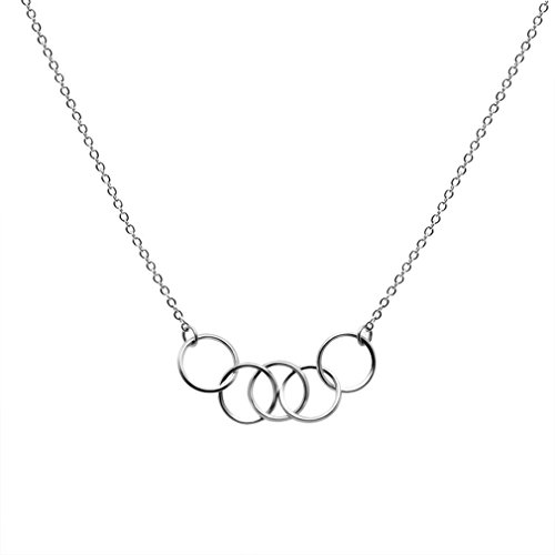Moonsky Simple Pendant Necklace - Five Interlocking Infinity Circles, Birthday Gift (Silver Tone) (Tone Circle Pendant)