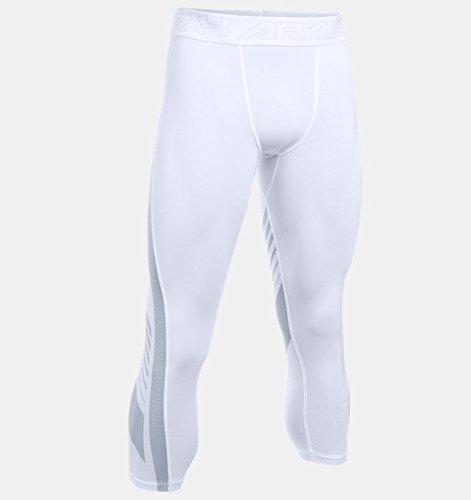 Under Armour Men's HeatGear SuperVent Compression ¾ Leggings, White /Overcast Gray, Small