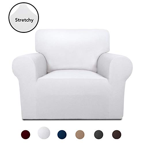 Ready Made Slipcover - PureFit Super Stretch Chair Sofa Slipcover - Spandex Anti-Slip Soft Couch Sofa Cover, Washable Furniture Protector with Anti-Skid Foam and Elastic Bottom for Kids, Pets (Chair, White)