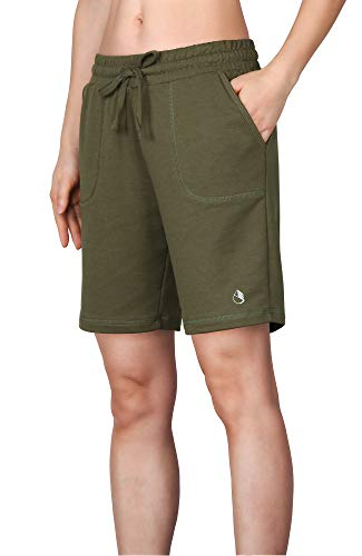 icyzone Athletic Running Yoga Shorts for Women - Women's Workout Active Lounge Bermuda Shorts with Pockets (XL, Army) ()