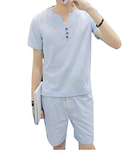 Bottone Uomo Scollo T shirt Con Maglietta Pantaloncini Azzurro Wenchuang Casual Da Lino V In Estiva xfz8vdw