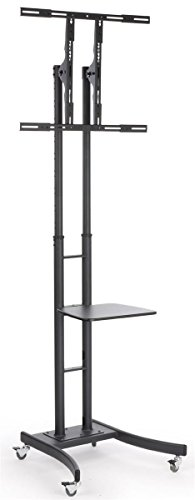 "Mobile LCD TV Stand with Locking Casters, Height Adjustable Bracket, Fits 32"" to 65"" Monitors, Steel (Black)"