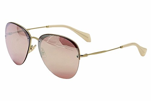 Miu Miu Women's 0MU 53PS Pink/Rose Gold Mirror - Miu Sunglasses Miu Aviator