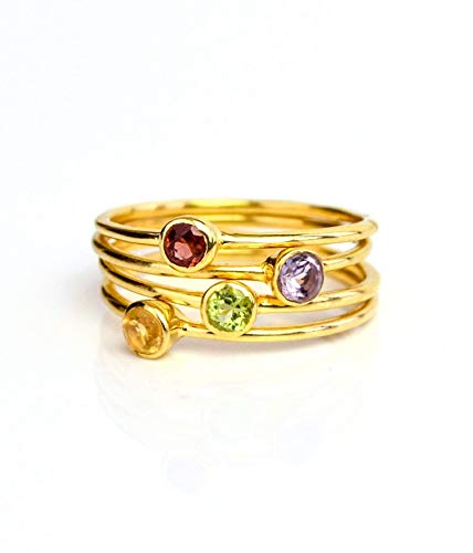 (Tiny Stacking Mother's Rings in All Birthstones, Dainty Gold-Plated Gemstone)
