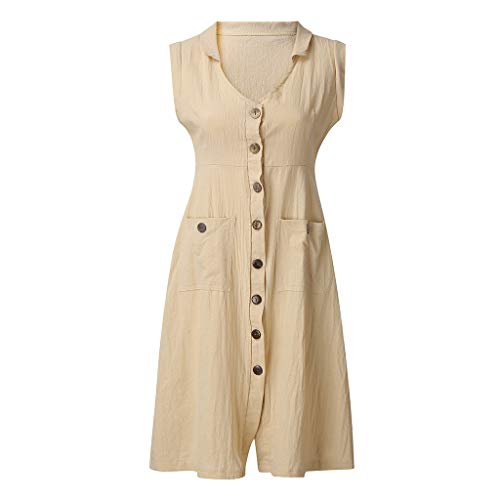 (Tantisy ♣↭♣ Women's New Cotton Linen Full Front Buttons Jacket Outfit V-Neck Sleeveless Shirt Tunic Dress with Pockets/S-5XL Khaki)