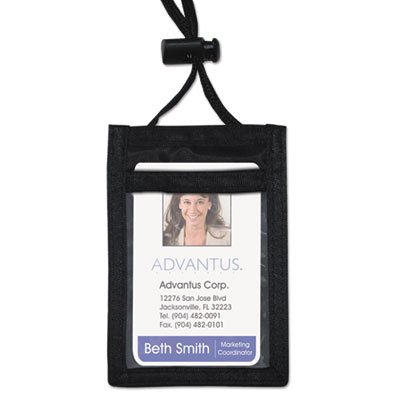 ID Badge Holder w/Convention Neck Pouch, Vertical, 2 1/4 x 3 1/2, Black, 12/PK, Sold as 12 Each - Convention Neck Pouch