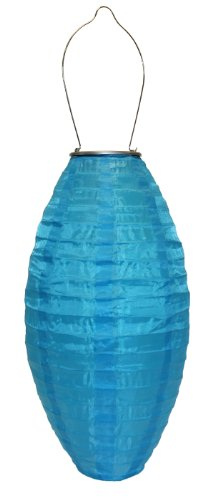 Allsop Home and Garden 31025 Soji Pod Turquoise, LED Outdoor Solar Lantern, Handmade with Weather-Resistant UV Rated Fabric, Stainless Steel Hardware, Chinese Style Light, 1-Count