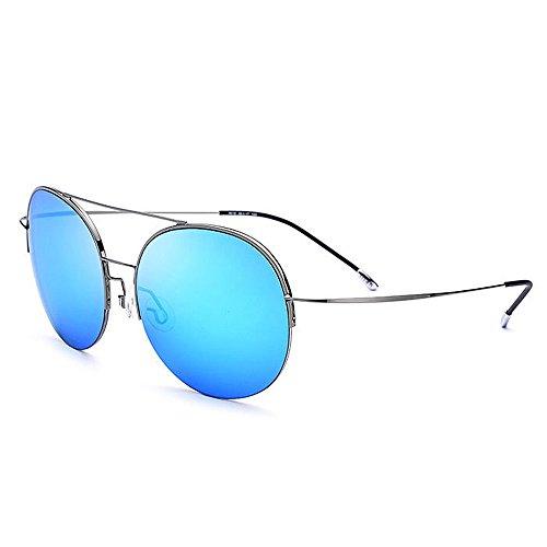 Yxsd de Classique Métal Rond Polarisées Soleil Soleil Rétro Cadre Blue en Lunettes de Lunettes Blue Couleur Unisexe 7qRr7w