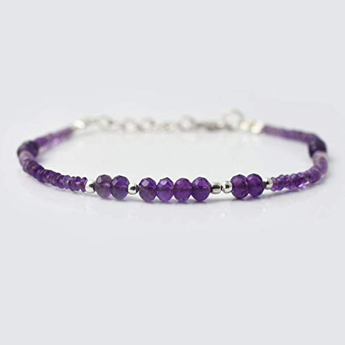 (Natural Amethyst Saucer Rondelle Beads Bracelet with Sterling Silver Findings 6.50