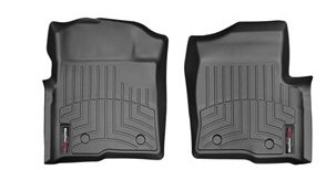 2009-2014 Ford F-150 F150 (Heating Vents Below First Row / Dual Floor Post Rentention) Front Set - WeatherTech Custom Floor Mats Liners - Black (Weathertech Floor Mats 2014 F150 compare prices)