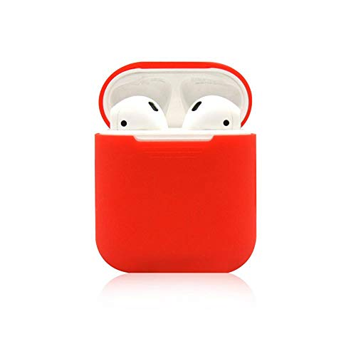Orcbee  _for Apple AirPods Accessories Silicone Cover Case+Anti Lost Strap+Ear Cover Hook (Red)