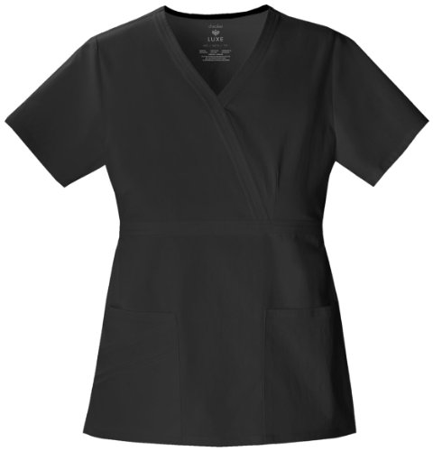 Cherokee Women's Scrubs Luxe Mock Wrap Top, Black, Large