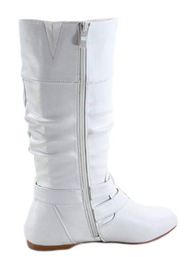 FZ-Sonny-54 Women's Stylish Round Toe Buckle Zipper Slouchy Mid-Calf Riding Boots Shoes (6 B(M) US, White) ()
