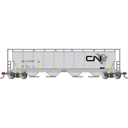 Canadia 4-Bay Cylindrical Grain Hopper Car Canadian National - North American Logo - N Scale