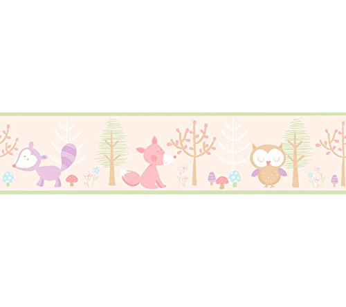 Brewster 2679-50118 Kids Happy Forest friends Pink Border