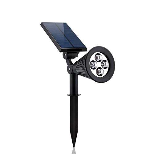 FUBARBAR Solar Lights,2-in-1 Waterproof 4 LED Solar Spotlight Adjustable Wall Light Landscape Light Security Lighting Dark Sensing Auto On/Off for Patio Deck Yard Garden Driveway Pool Area