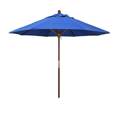 (California Umbrella 9' Round Hardwood Frame Market Umbrella, Stainless Steel Hardware, Push Open, Royal Blue)