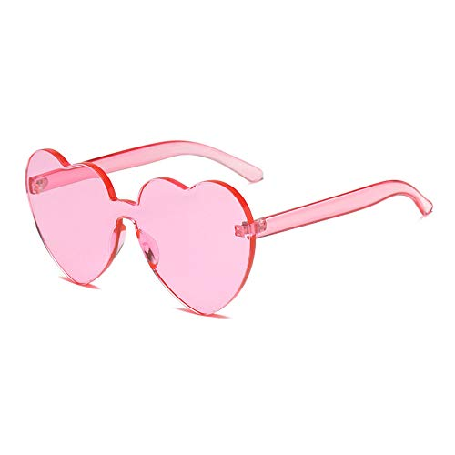Heart Shaped Rimless Sunglasses One Pieces Transparent Candy Color Frameless Glasses Love Eyewear(PI)