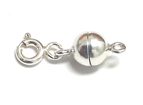 Sterling Silver 6 mm Round Magnetic Clasp Converter for Necklaces or Bracelets (Magnetic Sterling Silver)