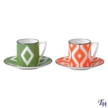 Jasper Conran Espresso Cup & Saucer Print Green and Orange -