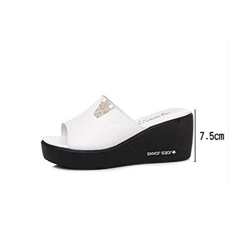 La Chanclas Ocasional Manera Duo Sandals blanco Aire Libre Elegante Los Al Del Verano Blanco Deslizadores Diamante Negro Gruesos 5cm De Femenino 7 Zadxawg