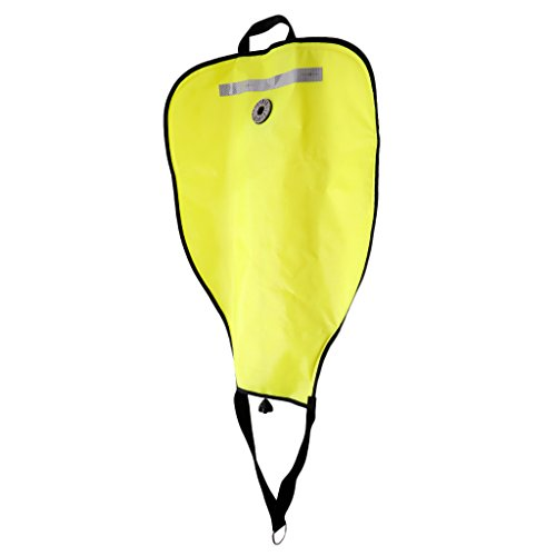 (Prettyia Heavy Duty 50lbs Capacity 50 Pound Open Bottom Scuba Diving Lift Bag with Dump Valve - Yellow)