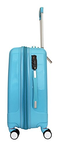 3 Pc Luggage Set Hardside Rolling 4wheel Spinner Upright Carryon Travel Sky Blue by Trendyflyer Collection (Image #1)