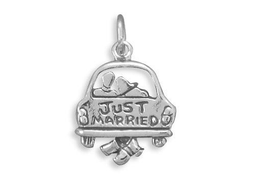 Detail Sterling Silver Charm - Corinna-Maria 925 Sterling Silver Wedding Just Married Charm