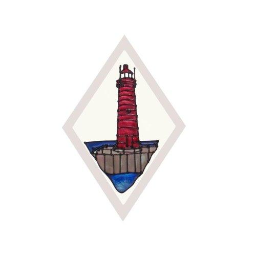 (Silver Creek Michigan Muskegon Lighthouse Painted Glass Suncatcher F-070)