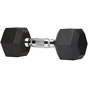 AmazonBasics Rubber Encased Hex Dumbbell Weight – 14.4 x 6.7 x 5.9 Inches, 22.6 kg
