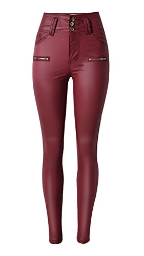 (Ecupper Womens Faux Leather Pants High Waisted Skinny Coated Leggings Wine Red 29